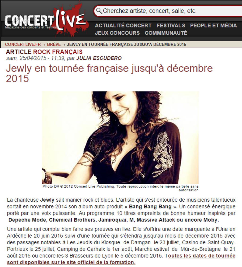 Concert Live – 25/04/2015